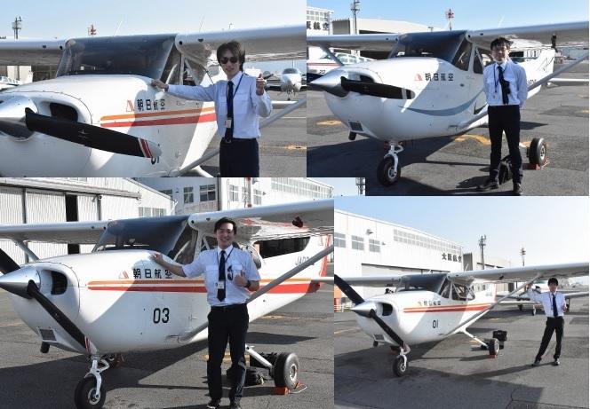 国内一貫訓練生が初の単独飛行を実施しました。