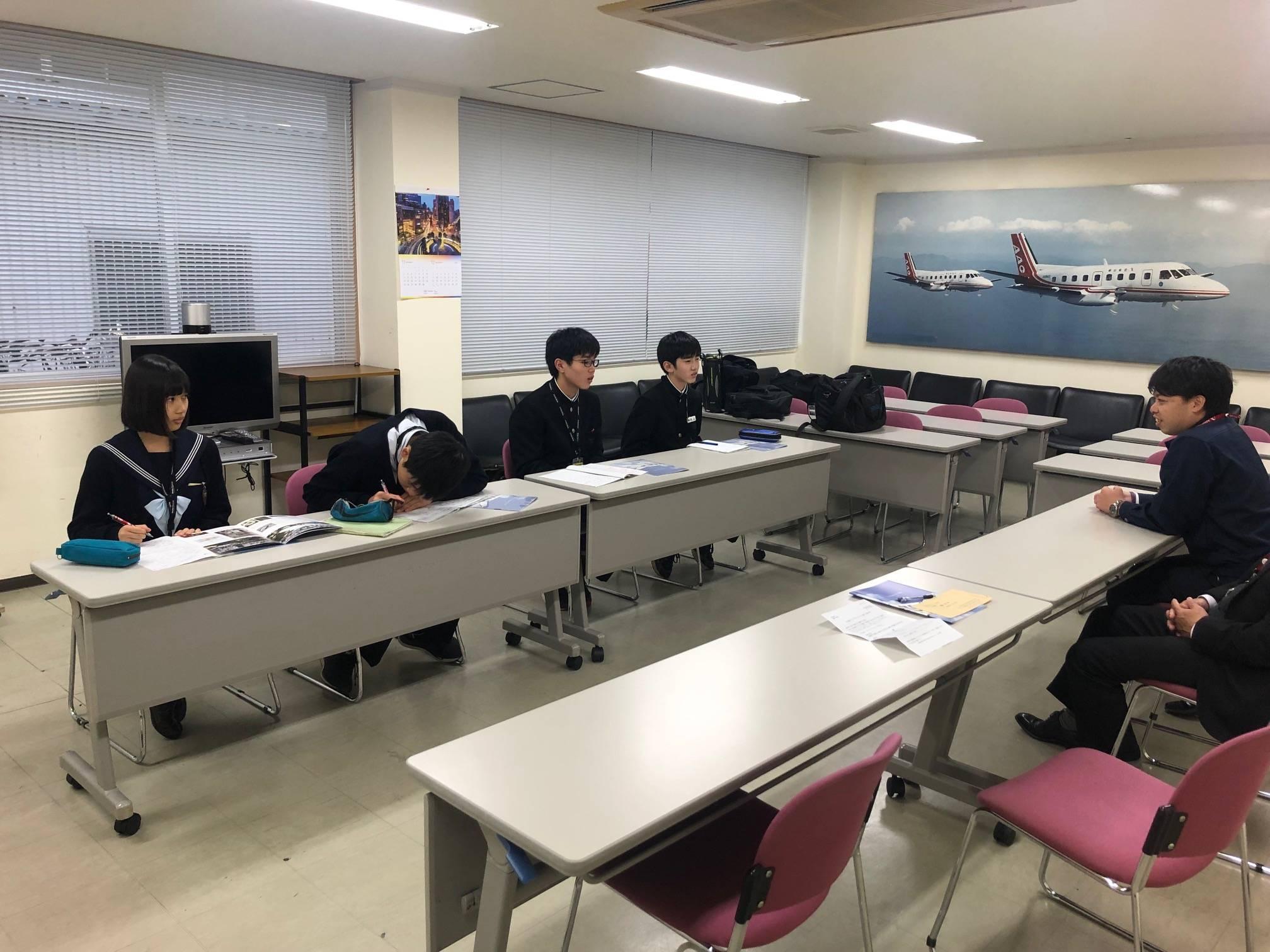 「社会探求」フィールドワークで富田林中学校の生徒4名が来訪